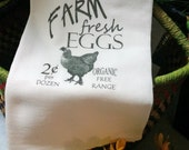 Kitchen Flour Sack/French Linens/Farm Fresh Eggs/100% Natural Cotton Tea Towel/Chickens/Handmade/Coffee Time/Dairy Dish Towel/Thank You Gift