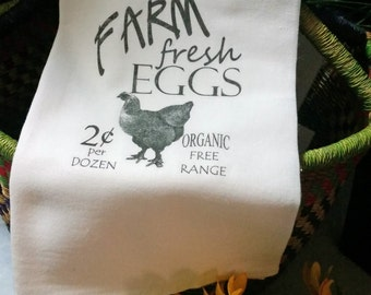 Kitchen Flour Sack/French Linens/Farm Fresh Eggs @2/100% Natural Cotton Tea Towel/Chickens/Handmade/Coffee Time/Dairy Dish Towel/Thank You
