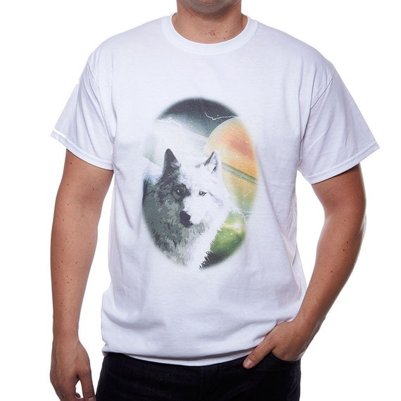Funny mens t shirt van mural t shirt wolf shirt white tee gift for Murals on the t shirt