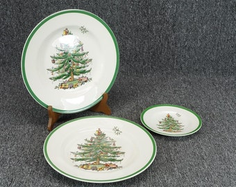 Vintage Spode England Christmas Tree 3 Tier Serving Tray (Missing Rod & Handle)