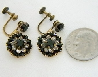 Vintage Round Black Faux Diamond Crystal Accent Screw Back Earrings