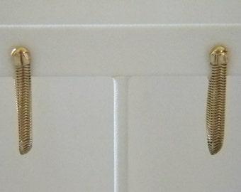 AVON Gold Tone Dangle Omega Chain Pierced Earrings