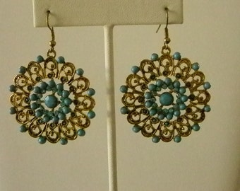 Large Round Gold Tone Turquoise Beaded Look Crystal Dangle Pierced Earrings