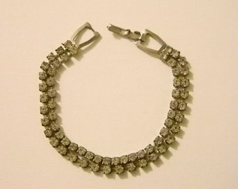 Vintage Silver Tone Double Strand Clear Rhinestone Bracelet