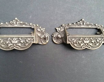 """2 vintage antique brass Victorian Apothecary Bin Pull Handles with label holder slot 4 3/4"""" #A7"""