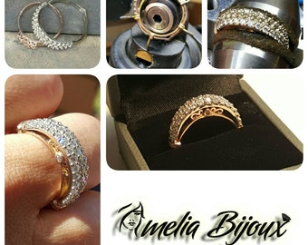 14K two tone diamond engagement/wedding ring