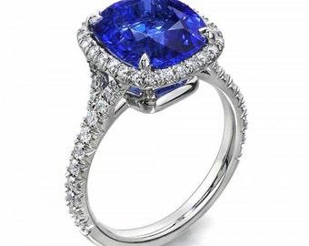 18K Diamond/Sapphire halo engagement ring
