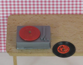 Doll house vintage record player 1970s grey red plastic