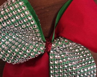 Red and green Cheer Bow