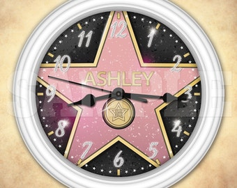 Hollywood Star Personalized Wall Clock - Walk of Fame