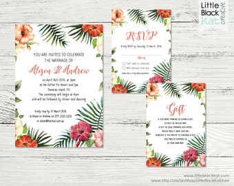 Tropical Hibiscus Wedding Stationery | Tropical Flower Wedding Invitation, Gift Card & RSVP  | Personalised Digital File