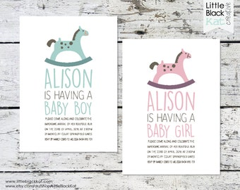 Rocking Horse Baby Shower Invitation | Personalised Digital File | Pink or Blue