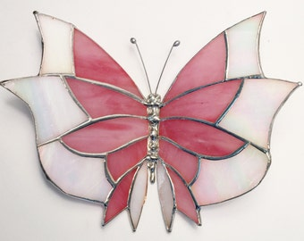 Large Stained Glass Butterlfy Gorgeous !  Handmade! Each one is ONE OF A KIND !!
