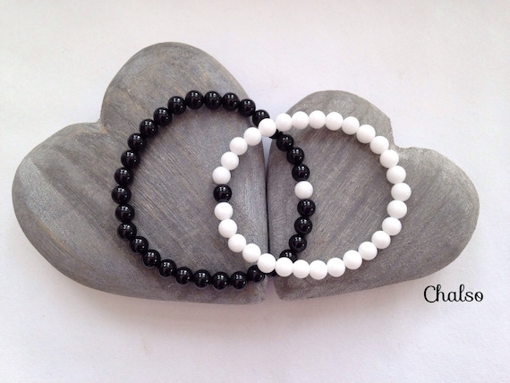 Couples bracelets matching bracelet set with black agate and