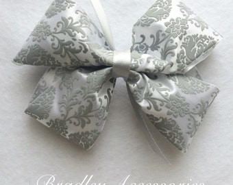 Grey Damask Hair Bow~ Floral Design Hair Bow, Grey Boutique Bow, Girls Hair Bow, Damask Hair Bow, Hair Accessories