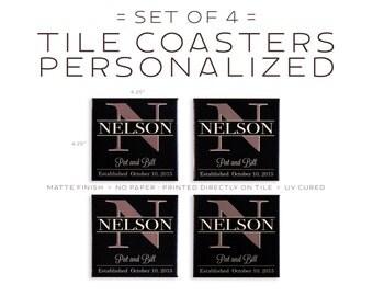 Personalized Dark Monogram Tile Coasters Set of Four - Family Name Anniversary Gift