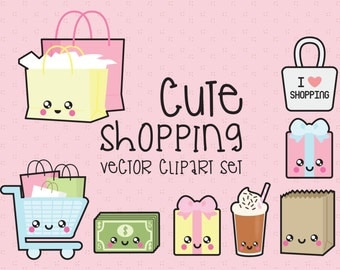 Premium Vector Clipart - Kawaii Shopping Clipart - Kawaii Shopping Clip art Set - High Quality Vectors - Instant Download - Kawaii Clipart