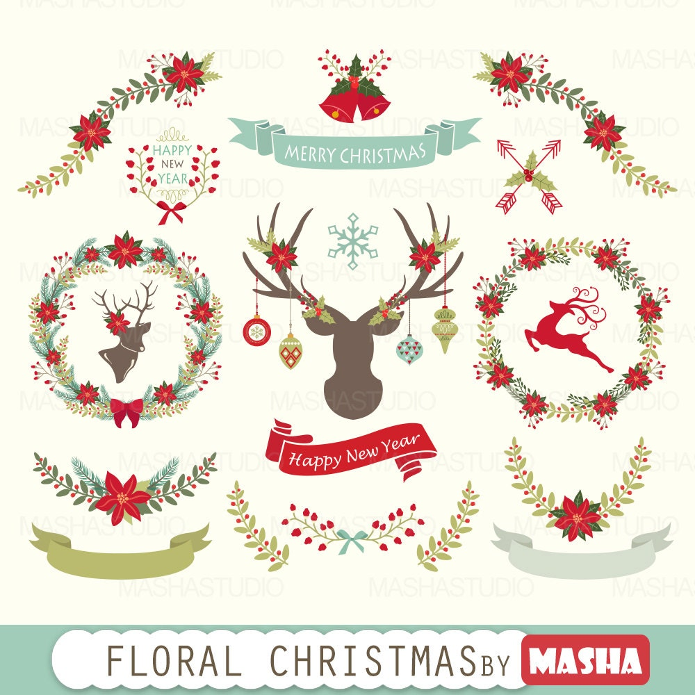 Christmas clipart: Floral Christmas Clipart with