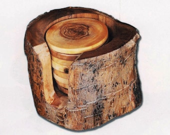 Birthday gift / Olive wood rustic coasters set / Original present