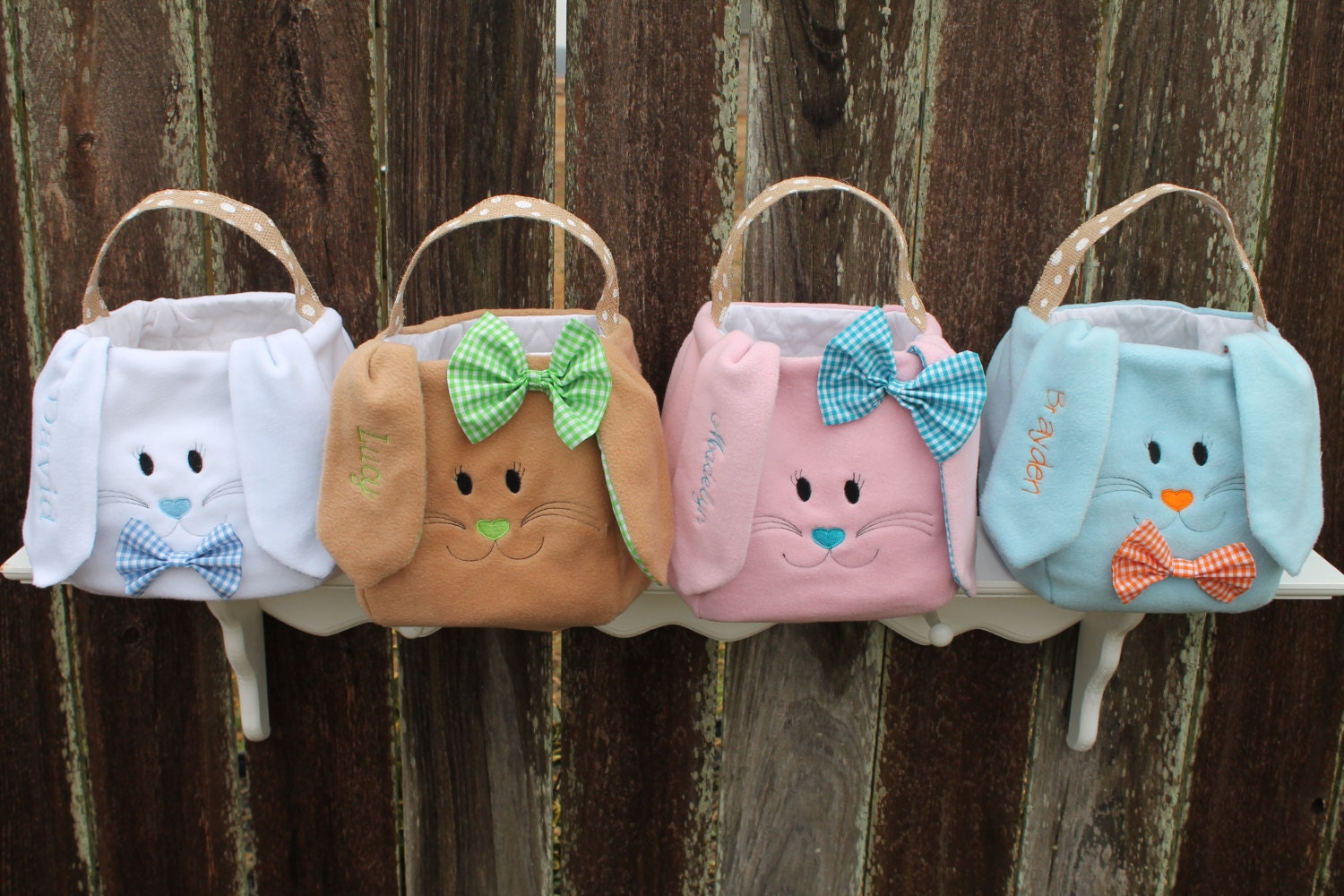 Personalized Easter Bunny Baskets Embroidered Plush Easter