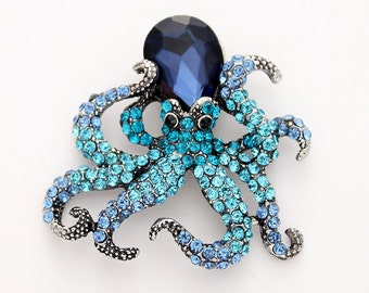 Octopus Brooch Crystal Navy Blue Brooch Beach Wedding Seaworld Nautical Ombre Crystal Blue Jewelry