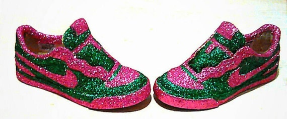 nike glitter sneakers green and pink glitter shoes size 7