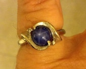 size 6, 14k white gold, bezel - cut, 0.50 ct. t.w.  blue star sapphire, fashion, solitaire ring