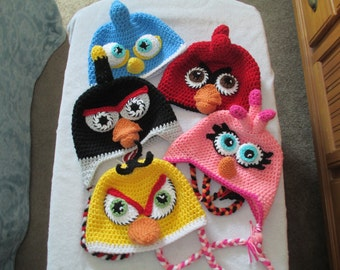 Crocheted Inspired ANGRY BIRD HAT------Photo Prop----Winter Hat-----Costume------All Sizes--