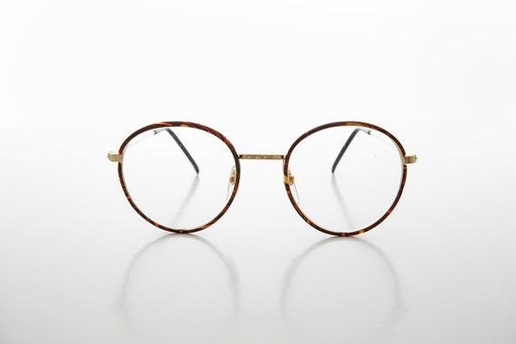 Round Preppy Polo Style Clear Lens Glasses with Gold Tortoise