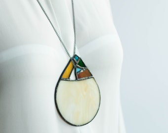 GEOMETRIC STATEMENT JEWELRY, Long necklace, Stained glass jewelry, Modern necklace, Abstract jewellery, Gift for girlfriend, Glass jewellery