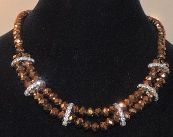 Aurora Boralis Coppertone double strand Necklace with Rhinestone Accents