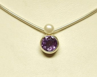 Pendant 'Stone + Pearl' With Amethyst