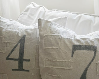 Custom Number Grain Sack Style Pillow Cover. Comes in 18x18, 20x20, 16x24, 16x26. patches are optional.