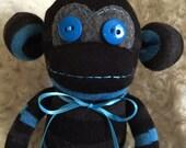 Blue, Grey, Black Striped Sock Monkey