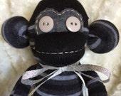Black, Grey, Charcoal Striped Sock Monkey