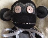 Charcoal, Grey, and Black Striped Sock Monkey