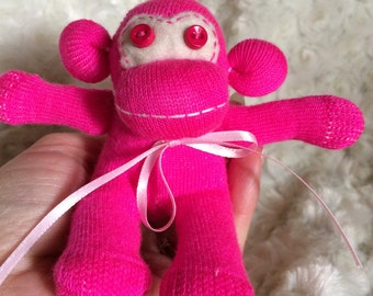 Sock Monkey-Micro-Mini-Handmade-Neon-Pink-Monkey-Baby Socks-Plush-Hand Held-Pocket Size