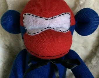 Sock Monkey-Spider-man-Handmade-Character-Superhero-Monkey-Plush-Red, Blue, White, Black-Long Arms and Legs