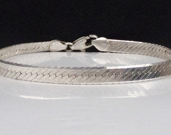 Italian Sterling Silver 925 Herringbone Braid Woven BRACELET Italy 5mm
