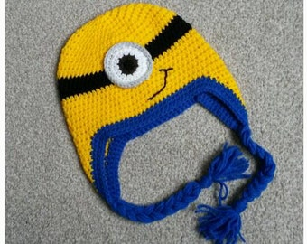 Minion Crochet Hat - Size 1-3  years approx