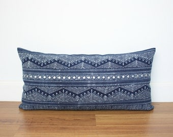 "12"" x 24"" Hmong Tribal Indigo Batik Cotton with Silver/Gold Studs Lumbar Pillowcase, Indigo Batik Pillow Cover /199"