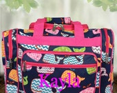 """Personalized 17"""" Chevron Whale Duffle Bag with Pink Trim"""