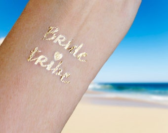 BRIDE TRIBE Gold Bachelorette Party Tattoos, Bachelorette Tattoos, 6 Metallic Gold Party Tattoo, Bride Tribe Tattoo, Party Pack