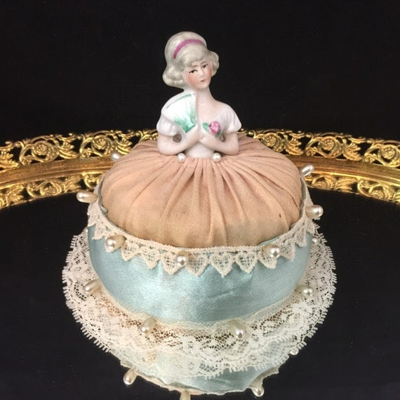 German Half Doll Antique Doll Porcelain Doll Pincushion Doll Porcelain Figurine Porcelain Half Doll  Art Deco Doll Bisque Doll Flapper Doll