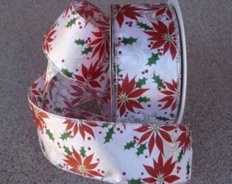 "New 5 yards Winter Bouquet Holiday Ribbon 2-1/2"" Ribbon, Wired Christmas Ribbon, Poinsettia Ribbon"