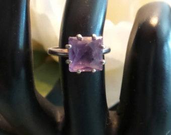 Vintage Amethyst Sterling Silver ring, size 5.5
