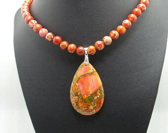 Handmade Red Sea Sediment Jasper beaded necklace with Sea Sediment Jasper pendant.