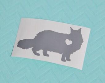 Maine Coon Cat w/ Heart Car Laptop Vinyl Decal Sticker