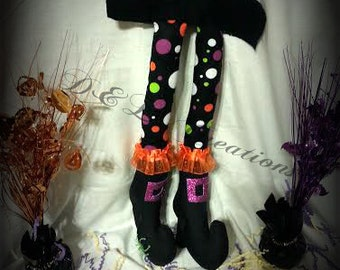 Polka Dot Bendable Witch Legs,