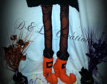 Orange and Black Velvet Spider Web Bendable Witch Legs